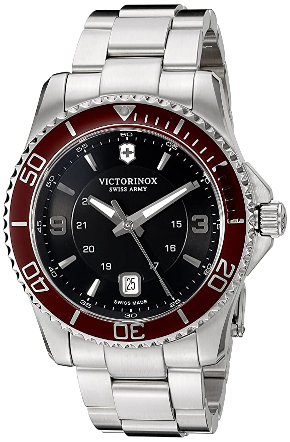 Amazon.com: Victorinox Mens Maverick Swiss Quartz Stainless Steel Watch, Color:Silver-Toned (Model: 249108): Watches