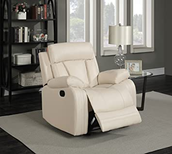 Meridian Furniture 645BE C Avery Plush Leather Chair Glider Recliner, Beige