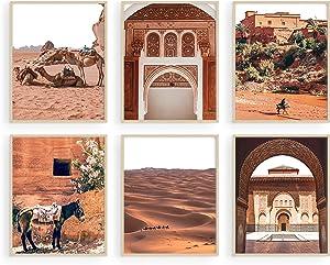 Haus and Hues Desert Art Print and Boho Wall Decor - Set of 6 Moroccan Wall Art Prints for Wall Decor   Desert Wall Art Boho Moroccan Wall Decor Desert Decor Moroccan Art Wall Decor   UNFRAMED 8