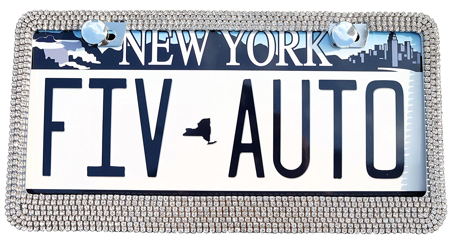 FIV-AUTO Bling License Plate Frame For Car// Handmade White Rhinestone Waterproof Metal License Plate Frame With Screws /& Caps+Free Bonus Car Engine Bling 2-Holes Stainless License Plate Frame Blingframe01