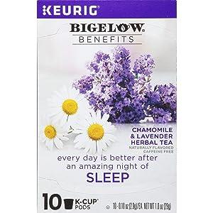 Bigelow Benefits Chamomile & Lavender Herbal Caffeine Free Tea K-Cups, Sleep, 10 Count (Pack of 6), 60 K-Cups Total