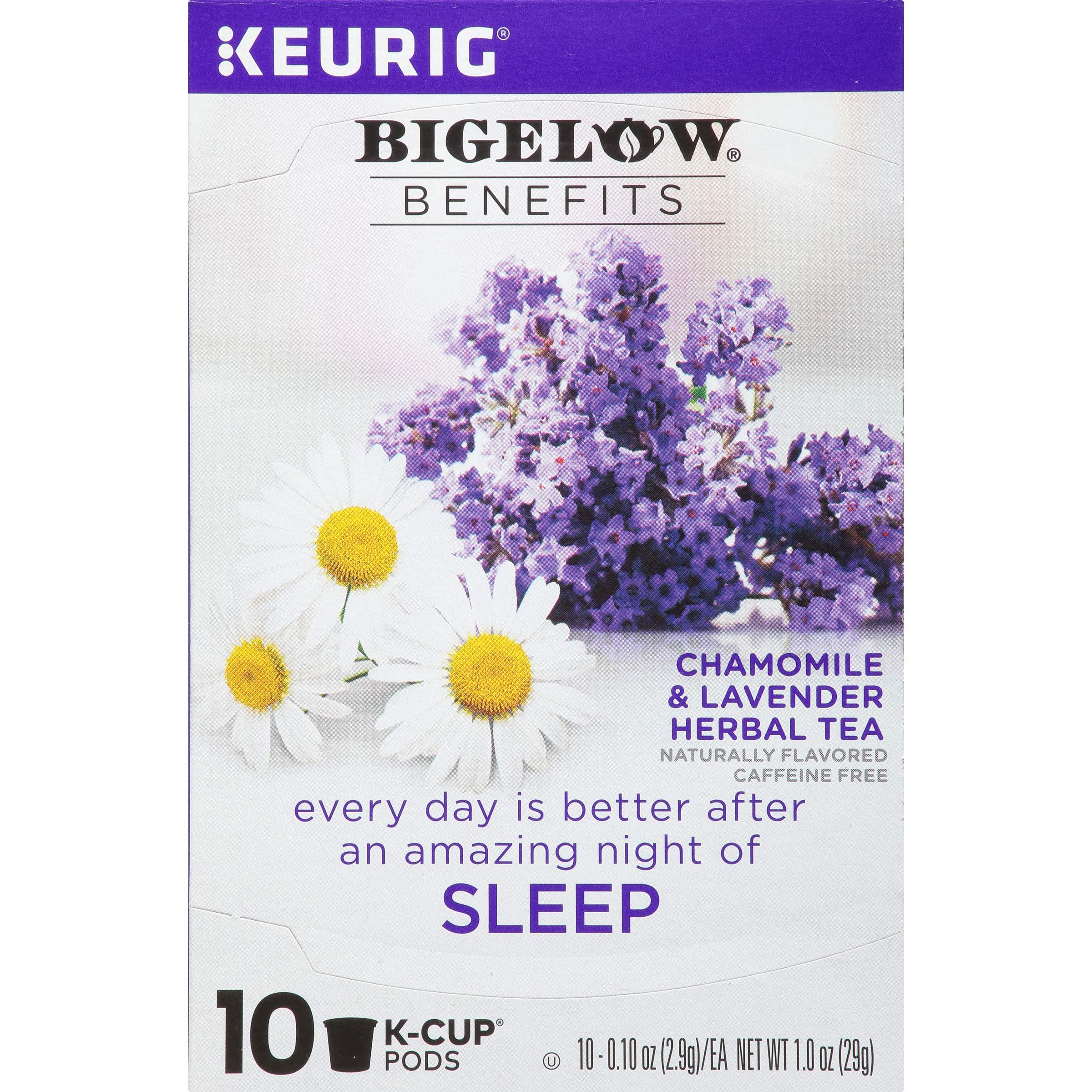 Bigelow Benefits Chamomile & Lavender Herbal Tea K-Cups, Sleep, 10Count (Pack of 6)