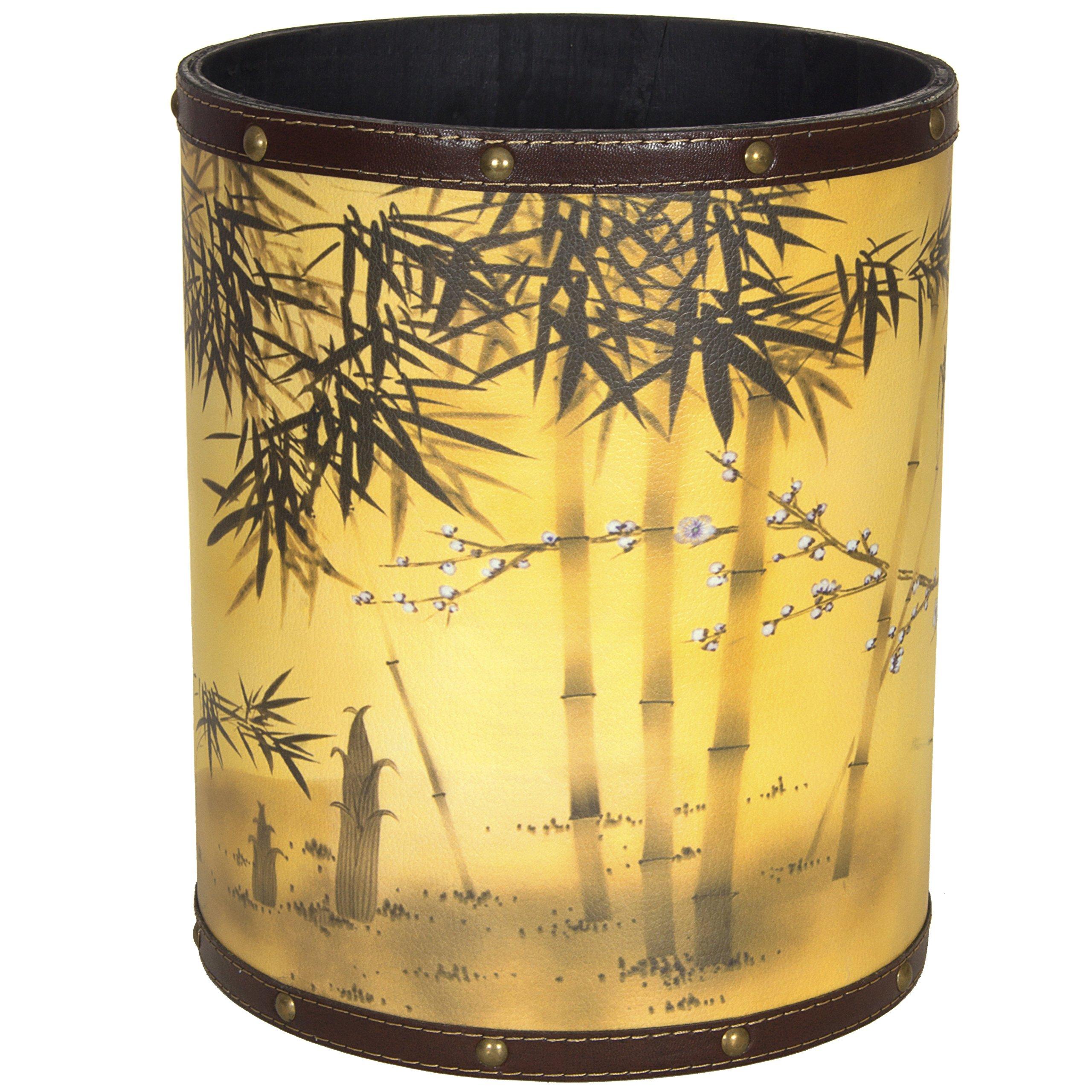 ORIENTAL FURNITURE CAN-WST-SILK1 Bamboo Tree Waste Basket