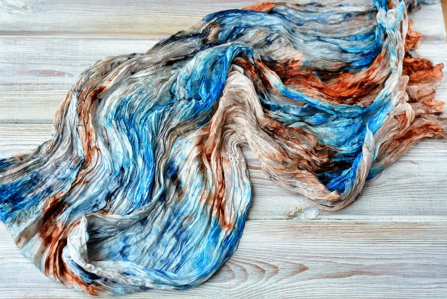Handmade One of a kind Womens Shawl Unique Gifts for mom who has Everything Silk scarf Shawl for women in Blue and Brown is Soft and Cozy