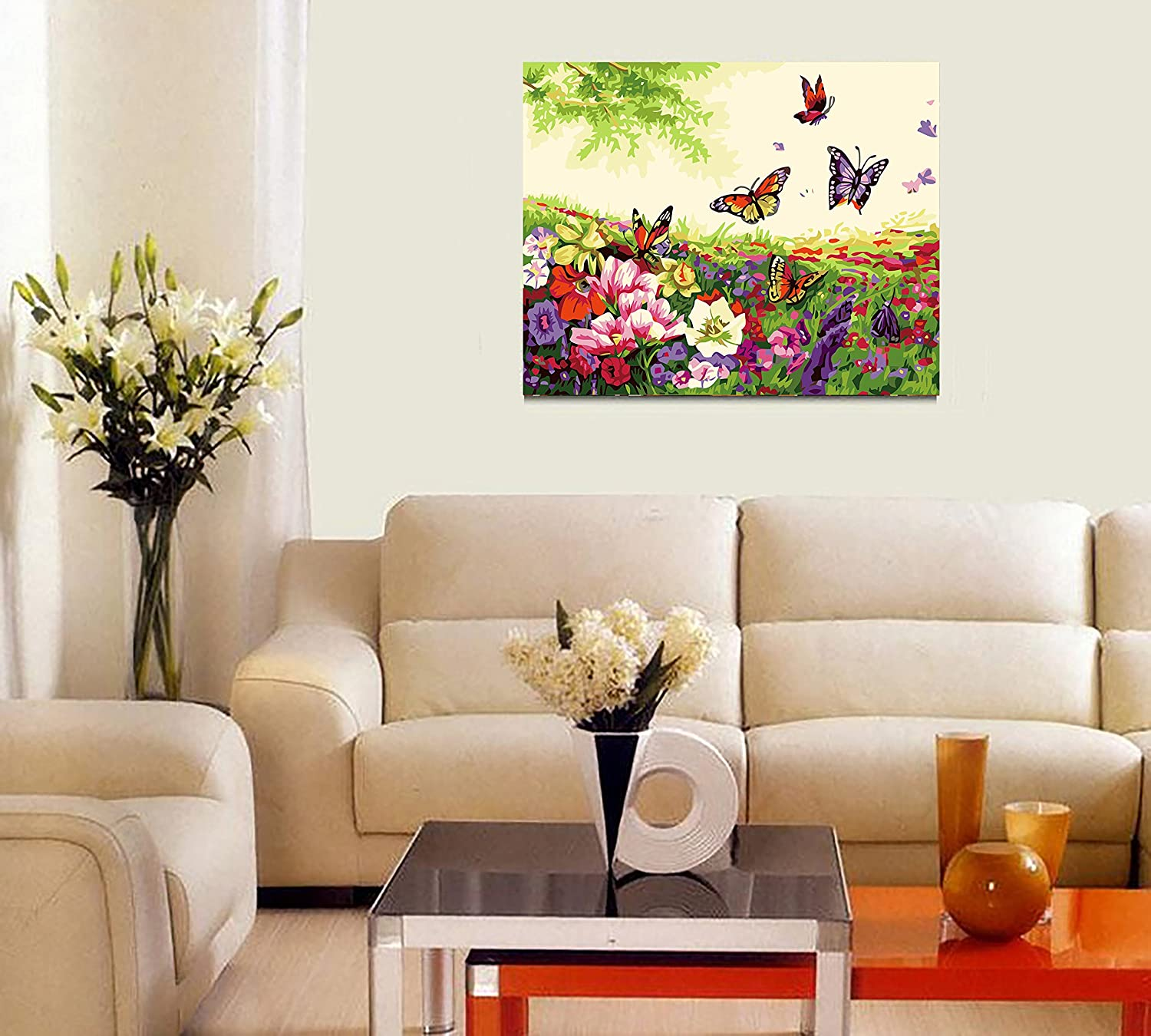ButterflyandFlowers 16*20 inch DIY Pre-Printed Canvas Oil Painting Gift for Adults Kids Paint by Number Kits With Wooden Frame for Home Decor