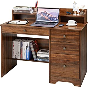Kealive Computer Desk with 4 Drawers and Hutch Shelf, Wood Frame Home Office Desk with Spacious Desktop, Vintage Style Writing Study Table PC Laptop Notebook Desk, Espresso