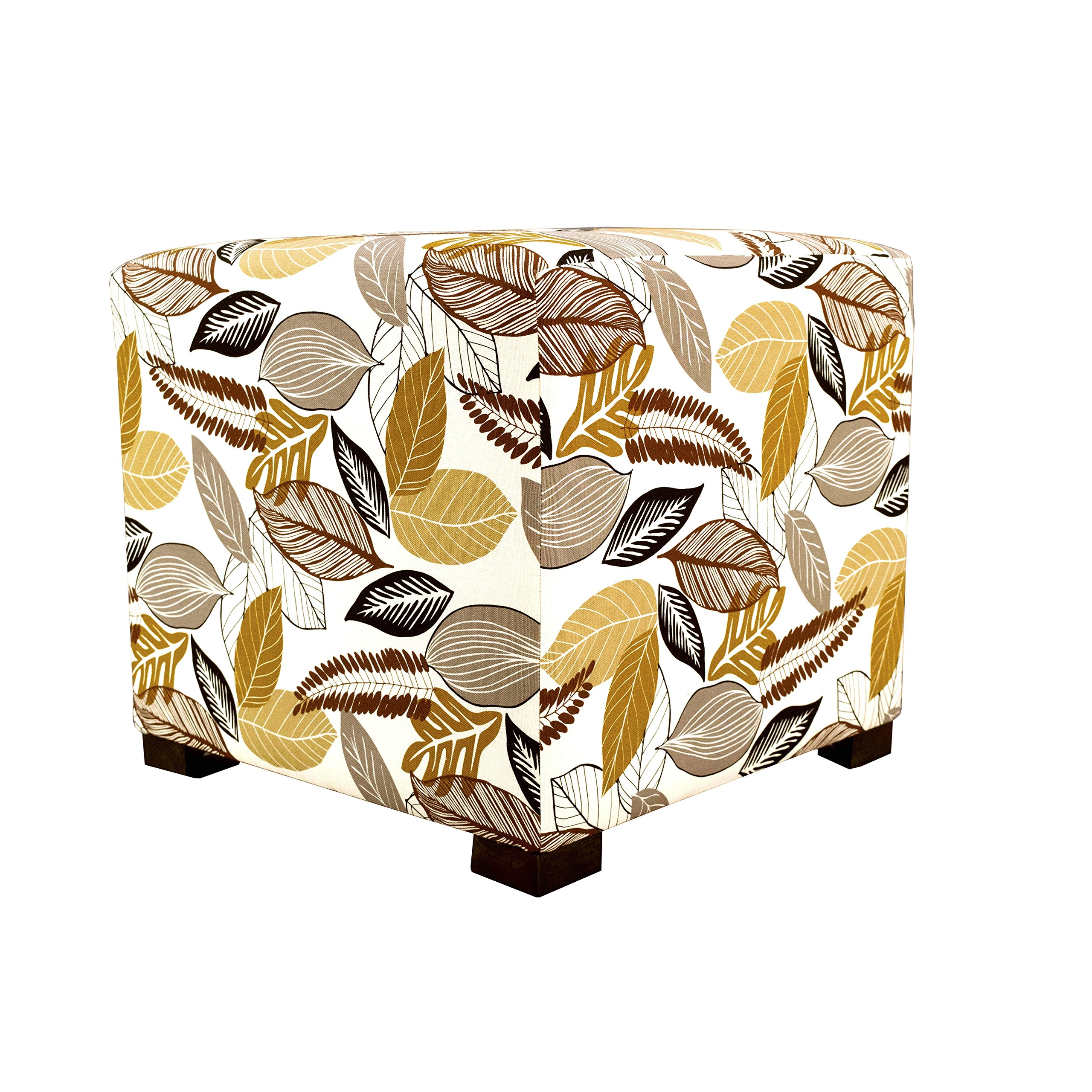MJL Furniture Designs Merton Collection, Fabric Upholstered Modern Cube Foot Rest Ottoman with 4 Button Tufting, Floral Foliage Series, Driftwood by MJL Furniture Designs (Image #1)