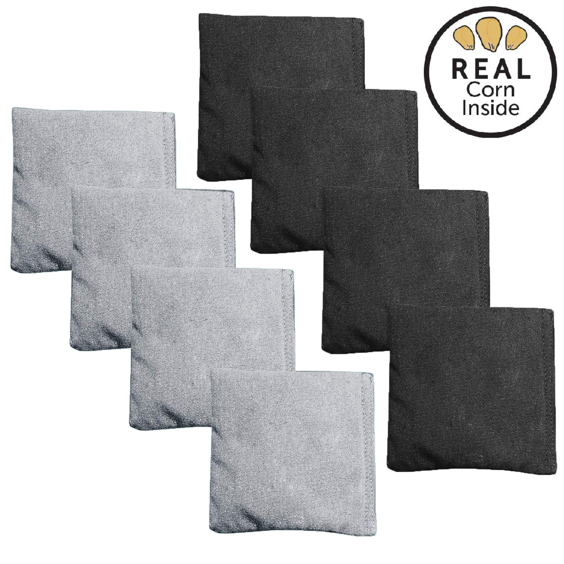 Corn Filled Cornhole Bags - Set of 8 Bean Bags for Corn Hole Game - Regulation Size & Weight - Silver and Black by Play Platoon