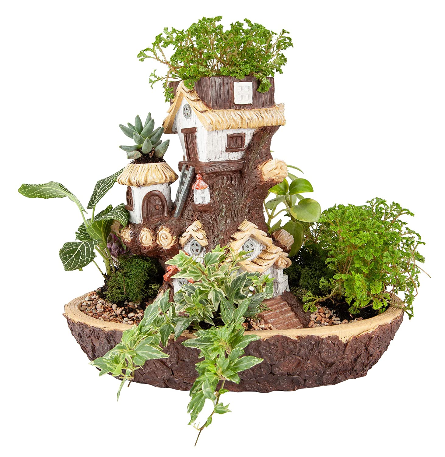The Paragon Fairy Garden Planter House, Resin Fairy Forest Mulit Layer Decroative Flower Pot for Succulents, Cactus or Small Flower