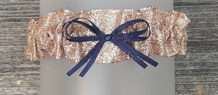 4efa39cfa79 Amazon.com  Sexy Rose Gold Glitter Sparkle Navy Blue Satin Rhinestone  Keepsake Bridal Wedding Garter  Handmade