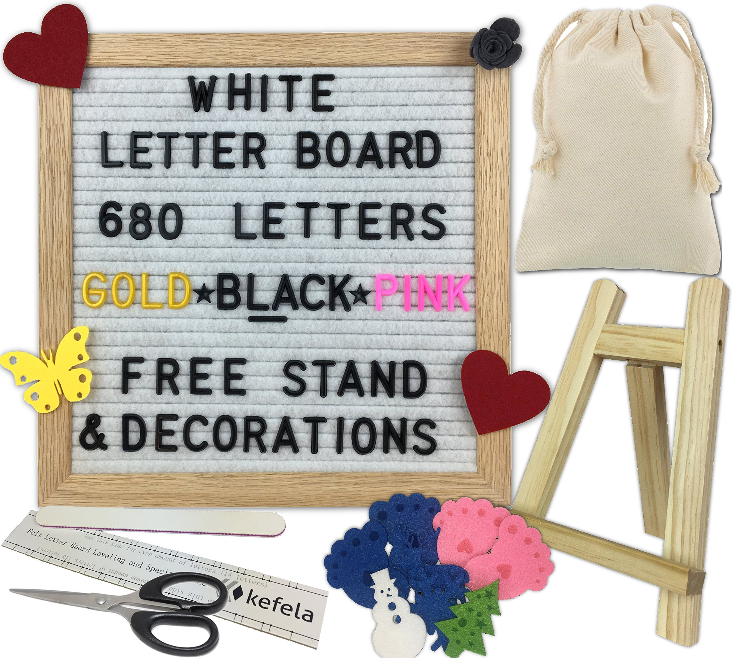 White Felt Letter Board 10x10 - Stand, Decorations, Bag, Scissors, File, Guide - Vintage Oak Frame & 680 Changeable Black Gold Pink Letters - for Announcements, Gift, Photo Prop, Quotes, Toy, etc.