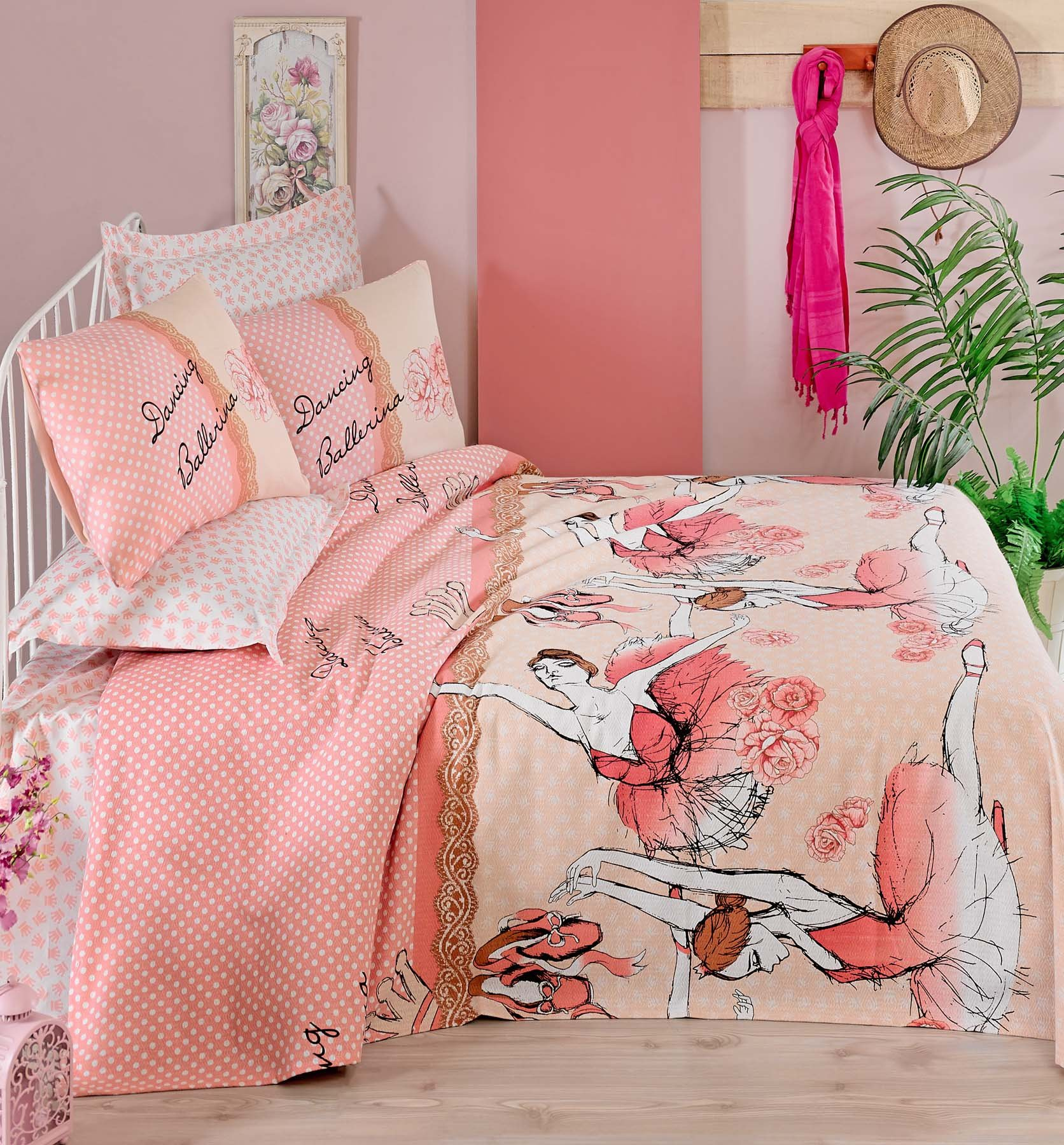 LaModaHome Dance Coverlet Set, 100% Cotton - Ballerina is Dancing Like a Swan, Pink Rose - Coverlet Size (63'' x 92.5'') - 4 Pieces - Coverlet, Flat Sheet and Two Pillowcases for Full Bed