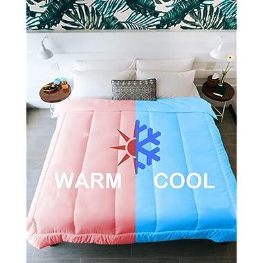 KÖMFORTE | Couples Comforter | Duvet Insert | Warm & Cool Sides for Him and Her | Dual Zone Luxury Microfiber Alternative Down Blanket (White, King)