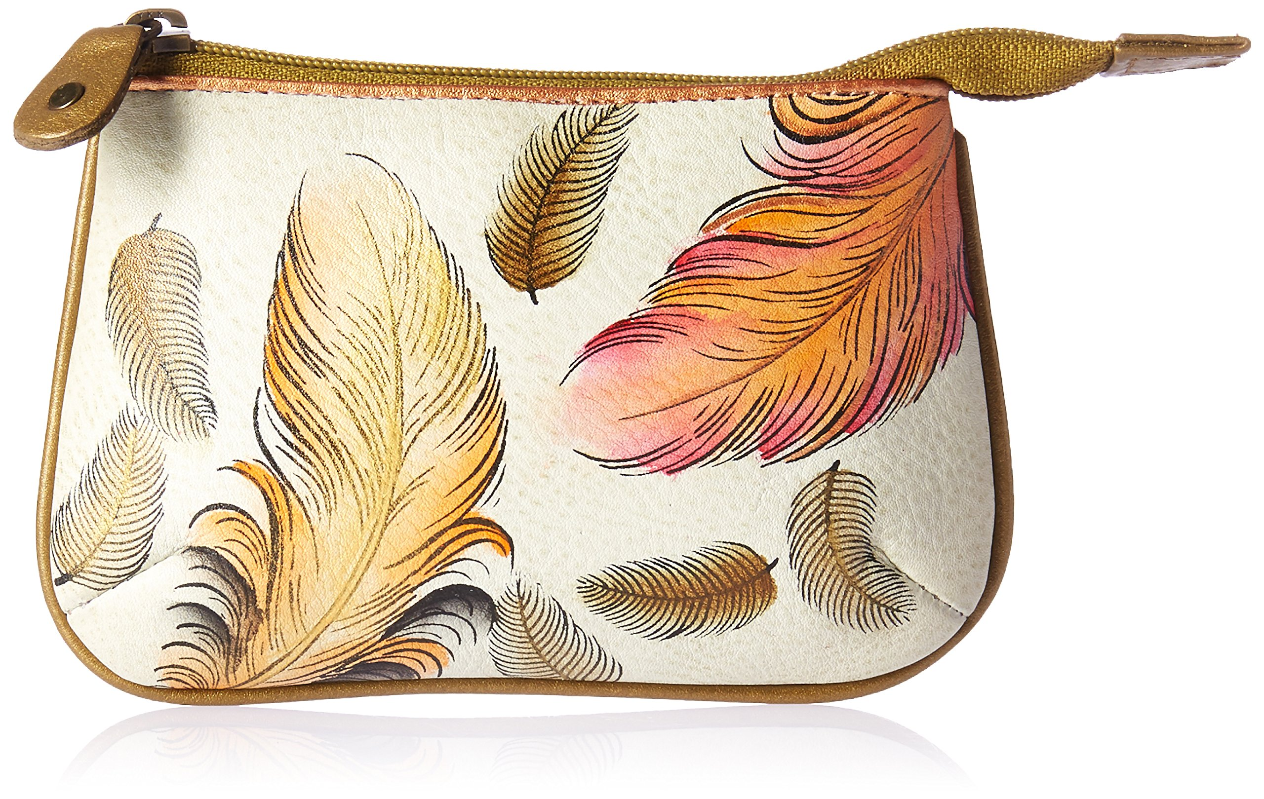 Anuschka Women's Handpainted Leather Medium Coin Purse-Floating Feathers Ivory, One Size
