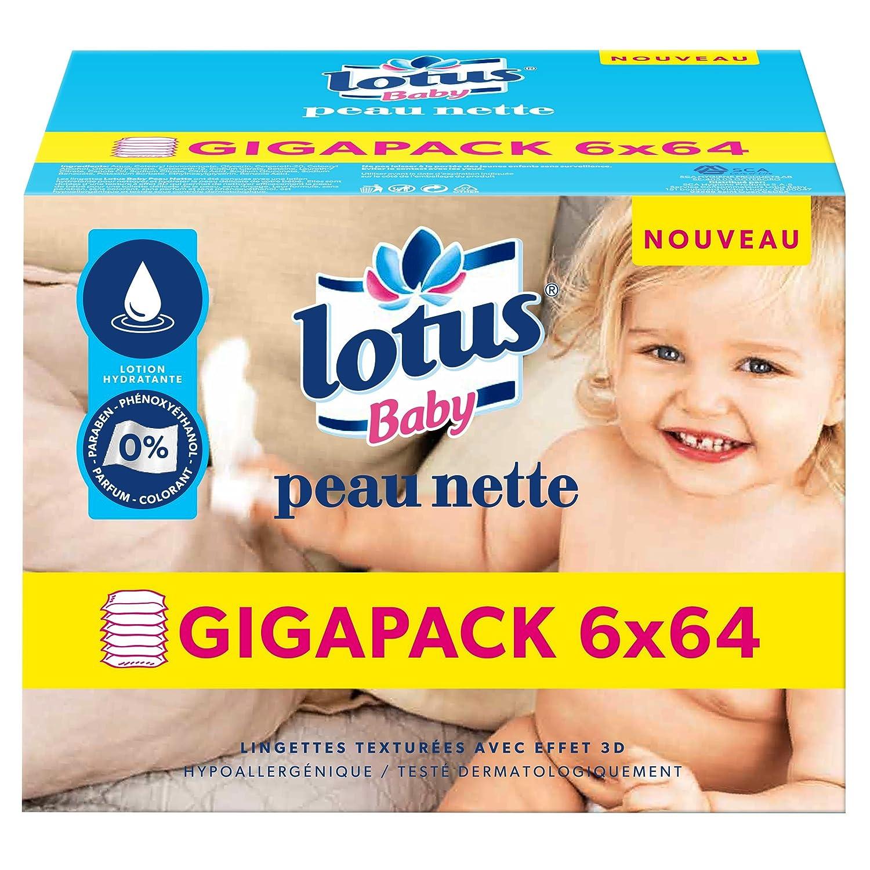 Lotus Baby Peau Nette - Lingette bébé - 6 paquets de 64 lingettes 7213