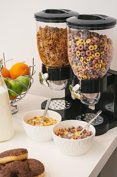 Dispensador de cereales doble de plástico para alimentos secos con fácil apertura giratoria, para porciones de 30 g. Boca dispensadora para comida seca como ...