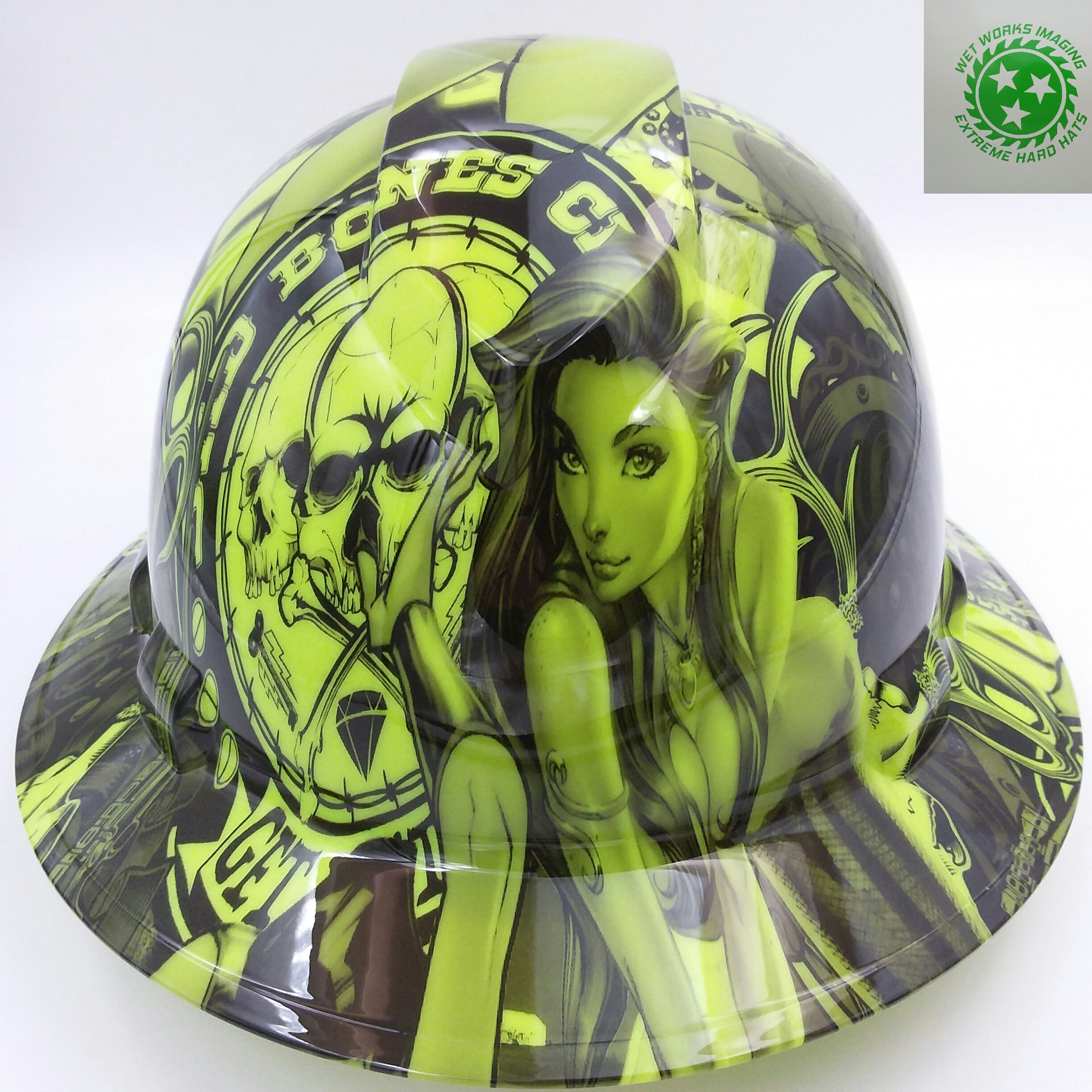 Wet Works Imaging Customized Pyramex Full Brim Green Bad Bones Hard Hat With Ratcheting Suspension by Wet Works Imaging