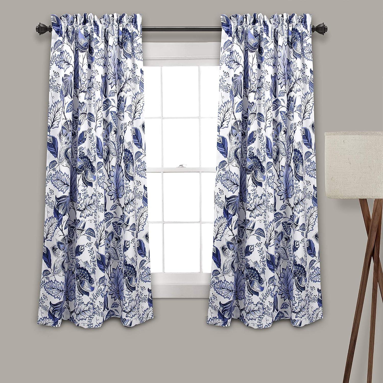 Amazon Com Lush Decor Blue Cynthia Jacobean Darkening Window Curtains Panel Set For Living Dining Room Bedroom Pair 63 L Home Kitchen