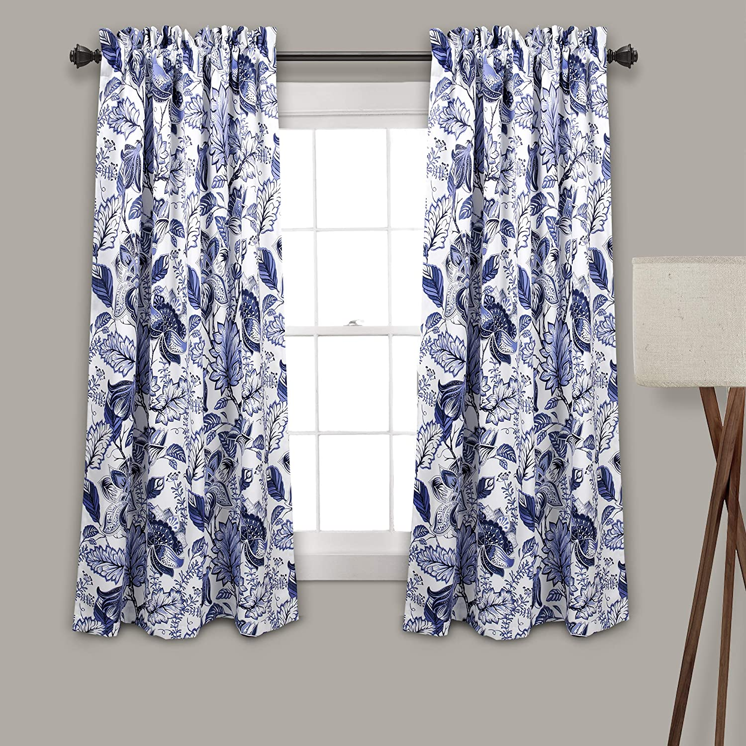 "Lush Decor Cynthia Jacobean Darkening Window Curtains Panel Set for Living, Dining Room, Bedroom (Pair), 63"" L, Blue"
