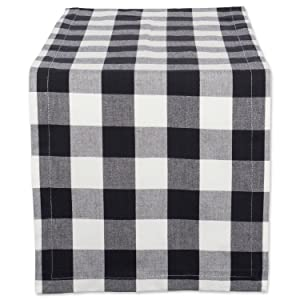 "DII Cotton Buffalo Check Table Runner for Family Dinners or Gatherings, Indoor or Outdoor Parties, & Everyday Use (14x72"",Seats 4-6 People), Black & White"