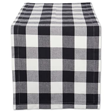 DII Cotton Buffalo Check Table Runner for Family Dinners or Gatherings, Indoor or Outdoor Parties, & Everyday Use (14x72 ,  Seats 4-6 People), Black & White