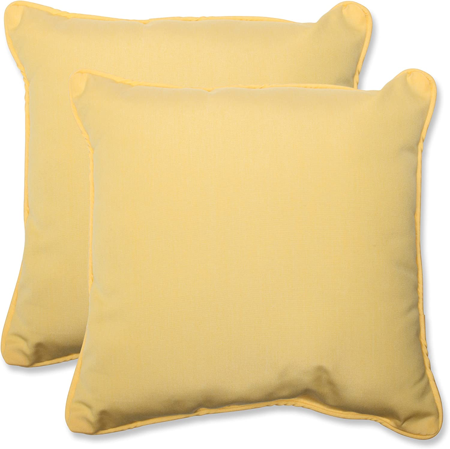 Pillow Perfect Indoor/Outdoor 18.5-inch Throw Pillow (Set of 2) with Sunbrella Canvas Buttercup Fabric, 18.5 in. L X 18.5 in. W X 5 in. D,Yellow