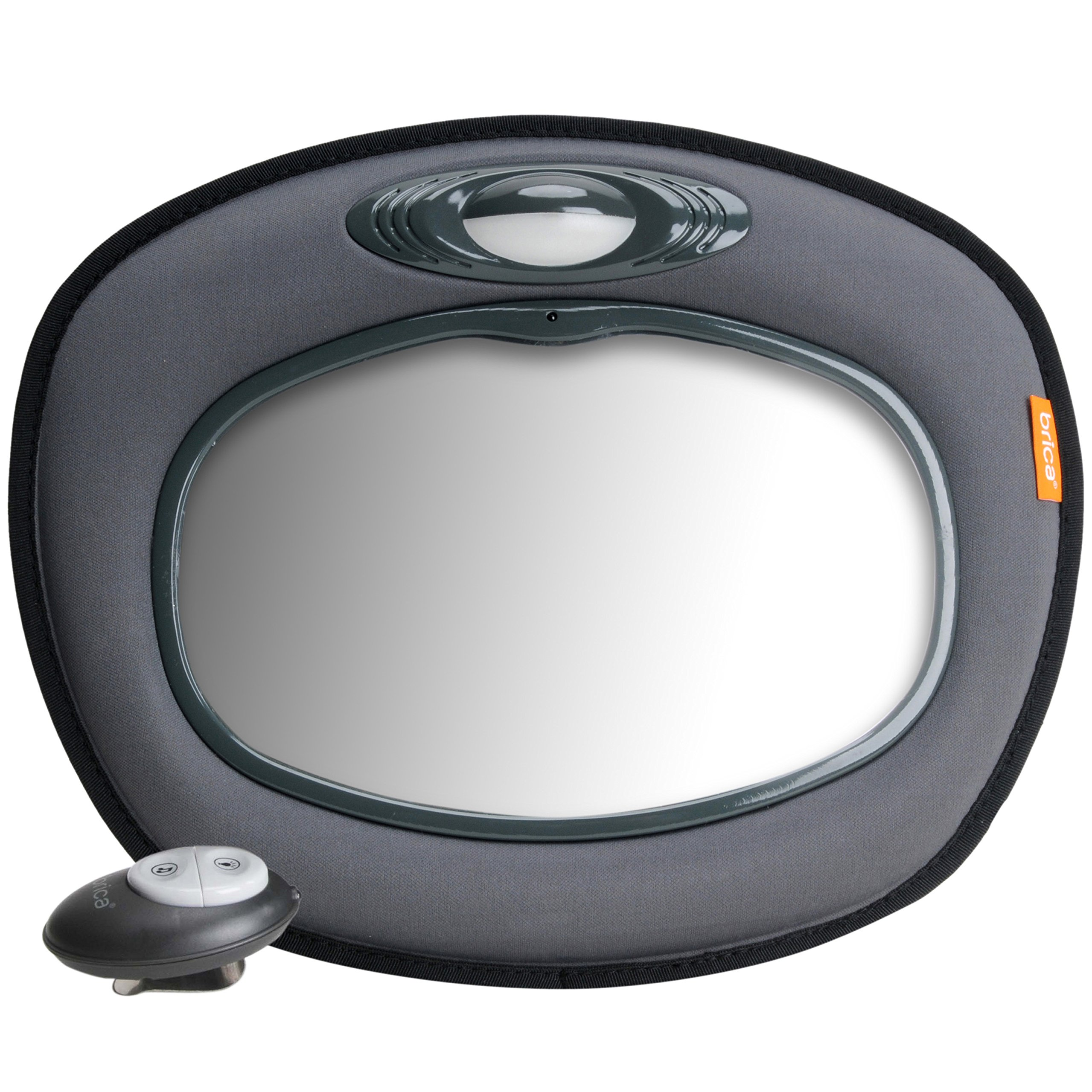 Munchkin Brica Day & Night Light Musical Car Mirror, Crash Tested and Shatter Resistant, Grey by Brica