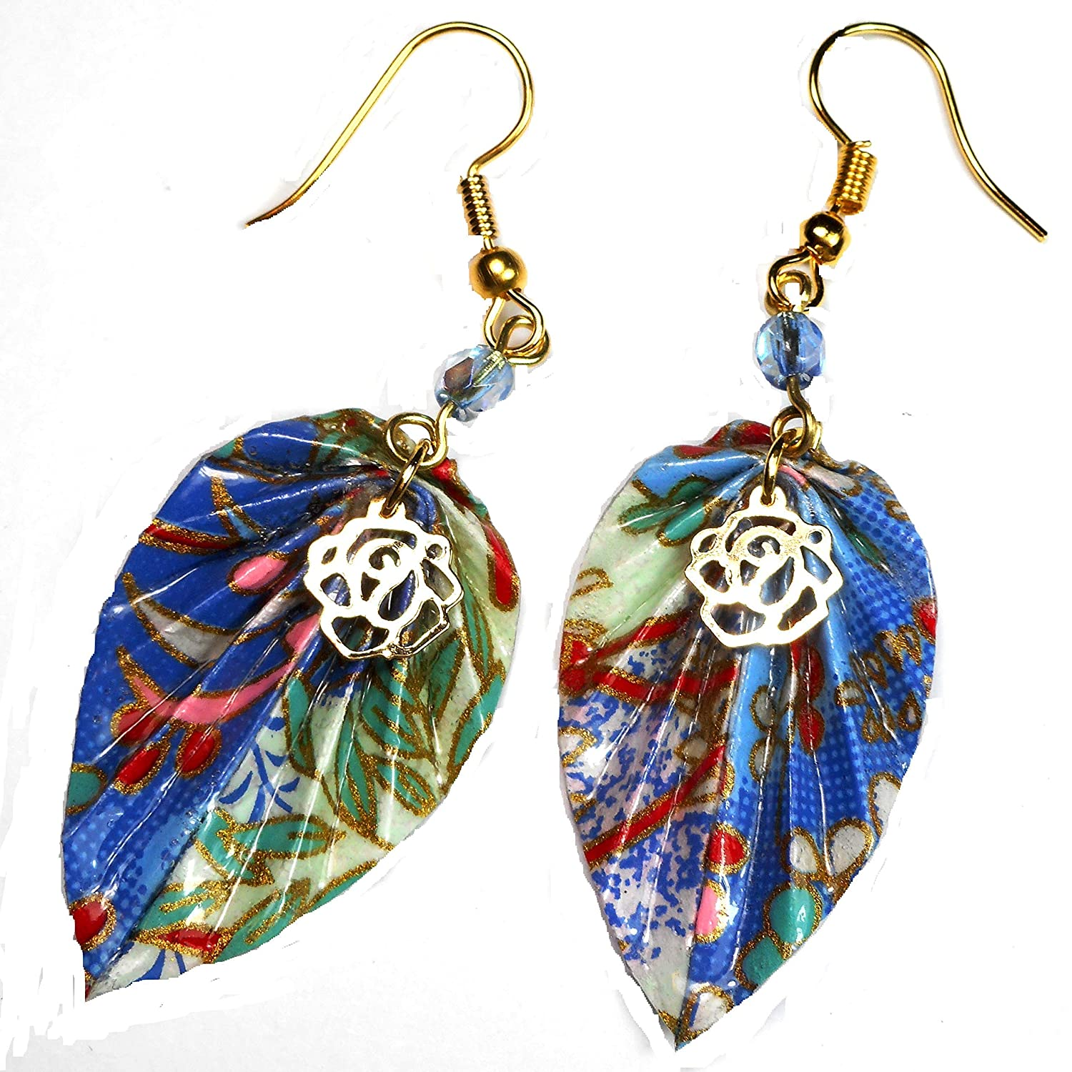 Handcrafted Jewelry Gift Blue Red Teal Paper Origami Leaf Earrings with Flower Charm and Glass Bead