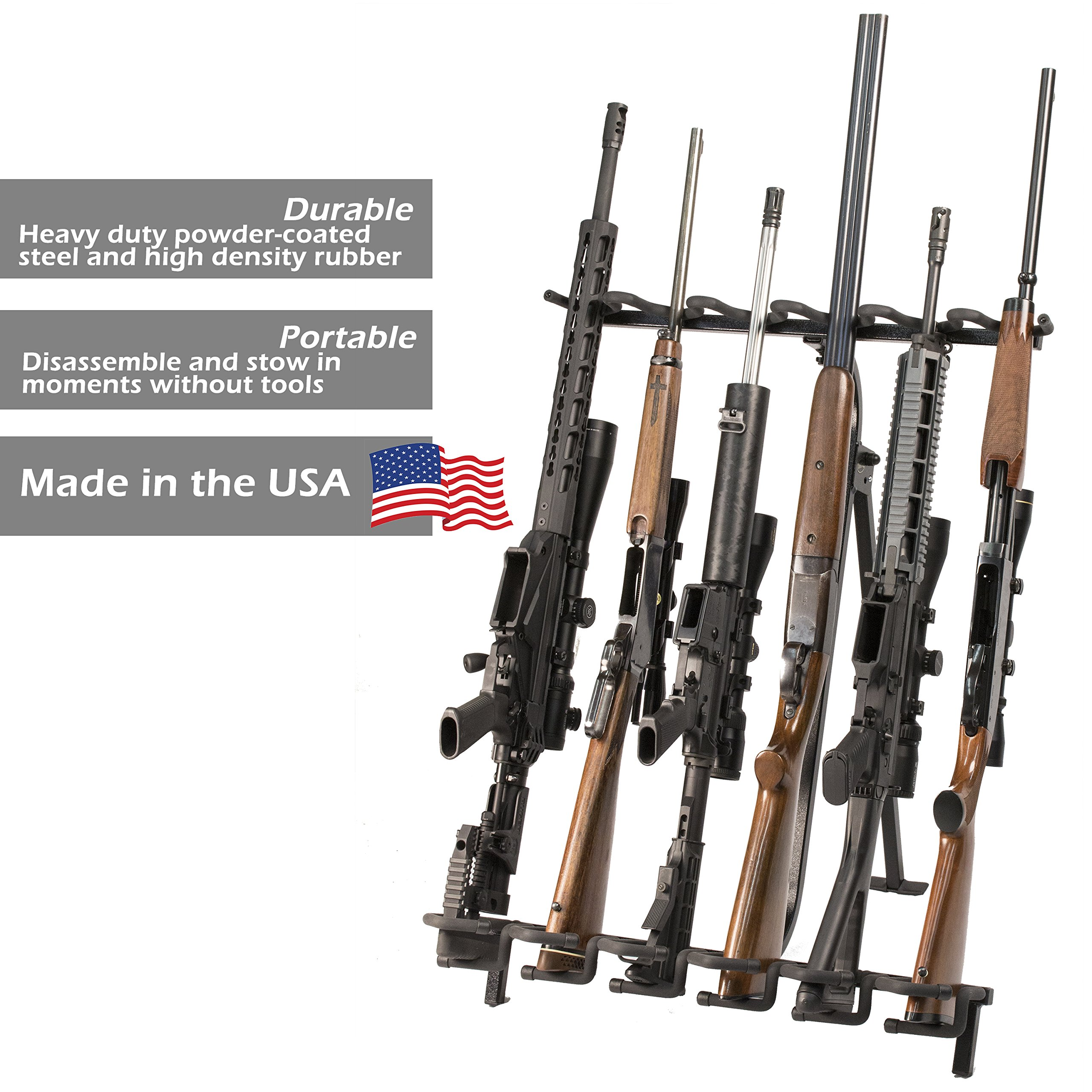 Hold Up Displays Portable Gun Rack and Bow Holder - Tactical Freestanding Folding Firearm Stand Holds Any Rifle or Bow - Keeps Guns Organized at The Shooting Range - Made in USA with Heavy Duty Steel by Hold Up Displays (Image #2)
