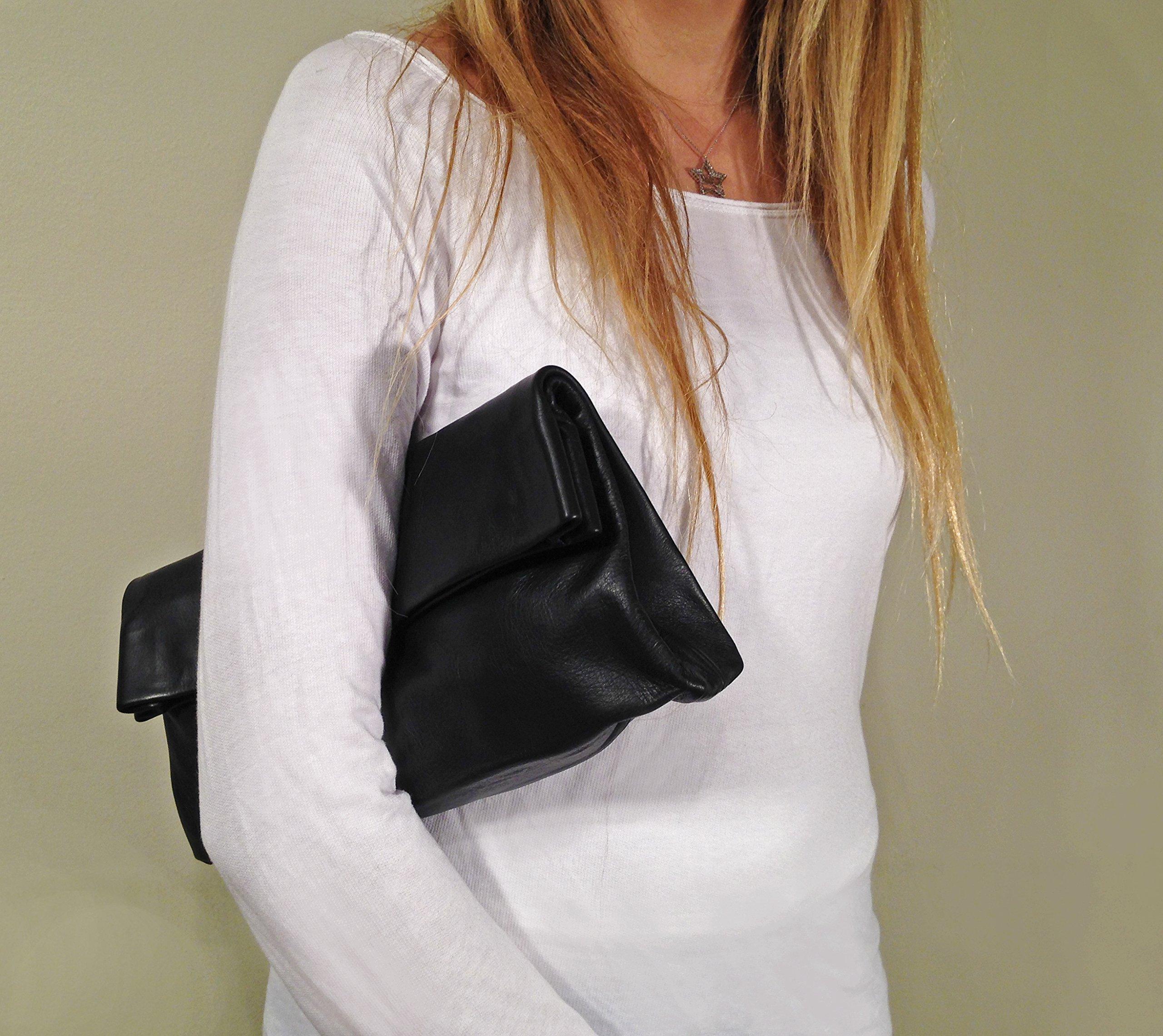 Foldover Women black clutch purse leather handbag in Handmade Crossbody strap optins