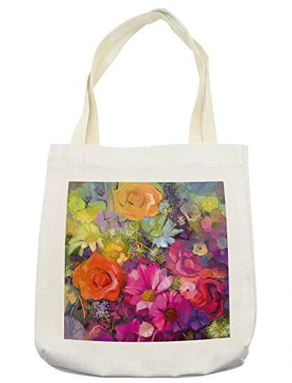 b48868b02 Ambesonne Floral Tote Bag, Vibrant Flower Bouquet with Daisy Peony Gerbera  Petals Romantic Arrangement Print