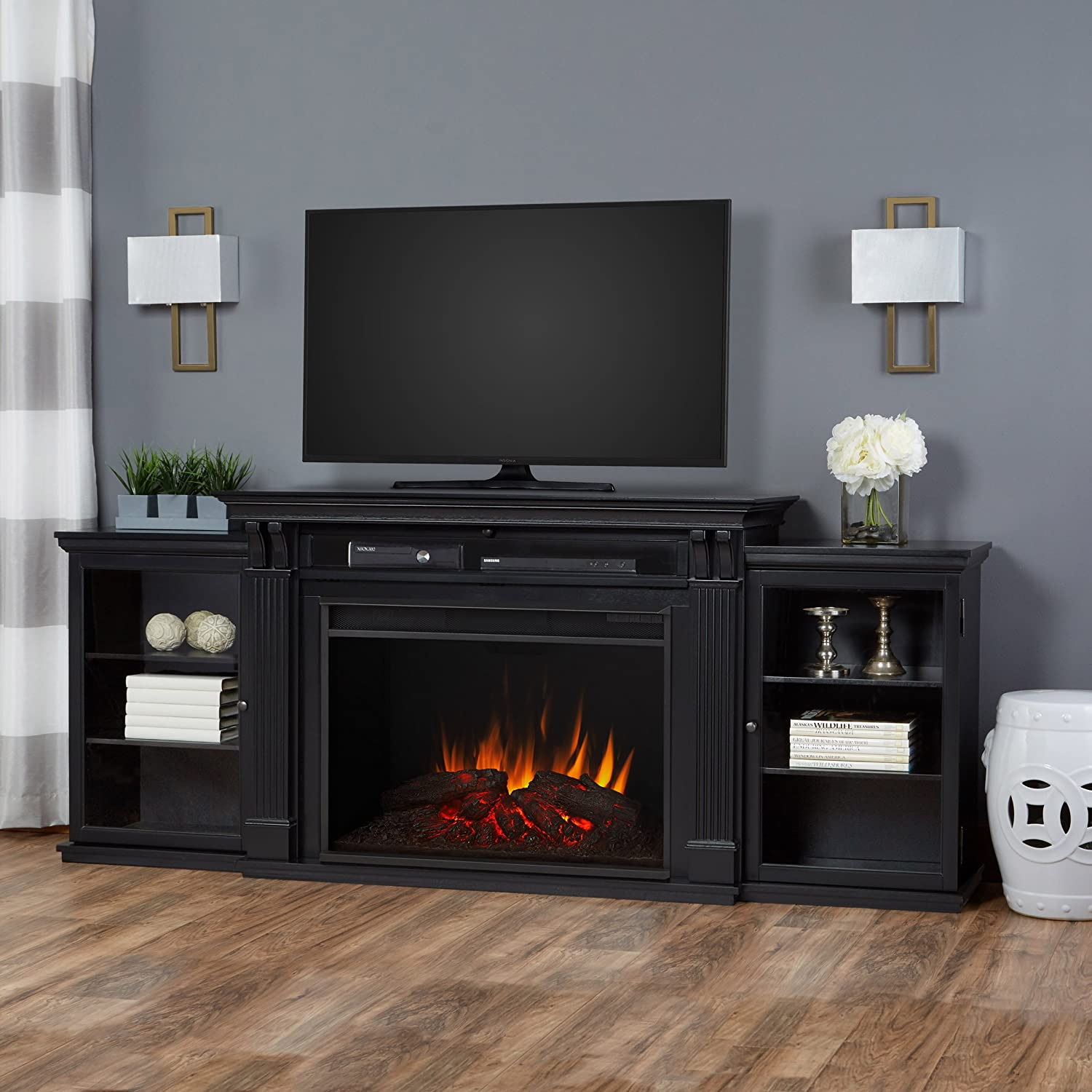 amazon com real flame 8720e blk tracey grand entertainment unit