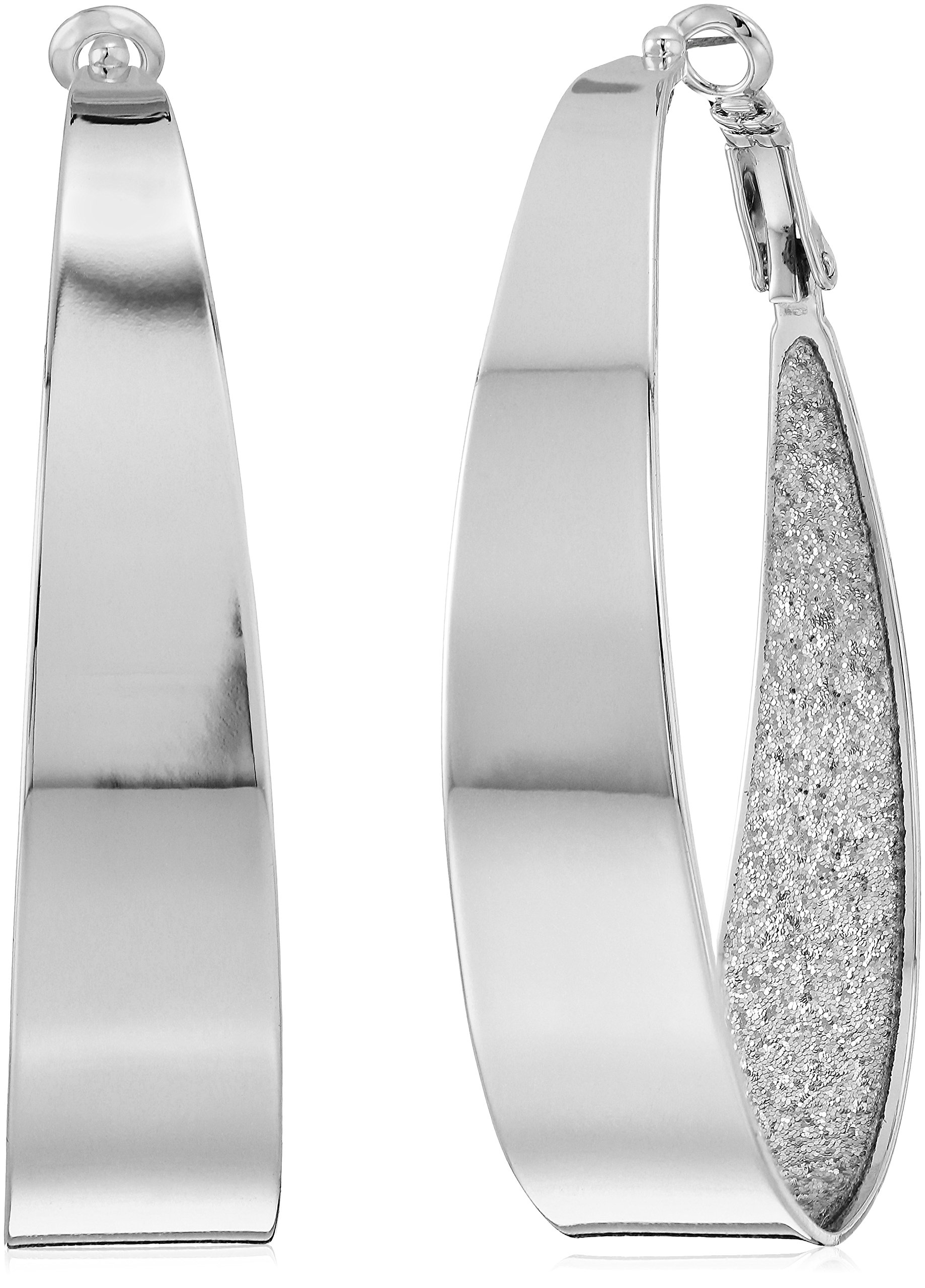 Guess Large Oval Glitter Silver Hoop Earrings by GUESS (Image #1)