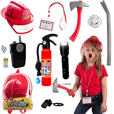 10 pcs Fireman Toys for Kids fireman Costume - Fire Toys Role Play Accessories great for Halloween,Dress Up,Pretend Play,indoor and outdoor,Pool,summer or all year fun for Toddlers and kids: Toys & Games