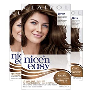 Clairol Nice'n Easy Original Permanent Hair Color, 5G Medium Golden Brown, 3 Count