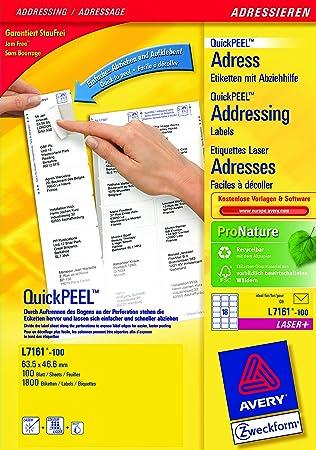 Avery L7161 100 Self Adhesive Addressmailing Labels 18 Labels Per