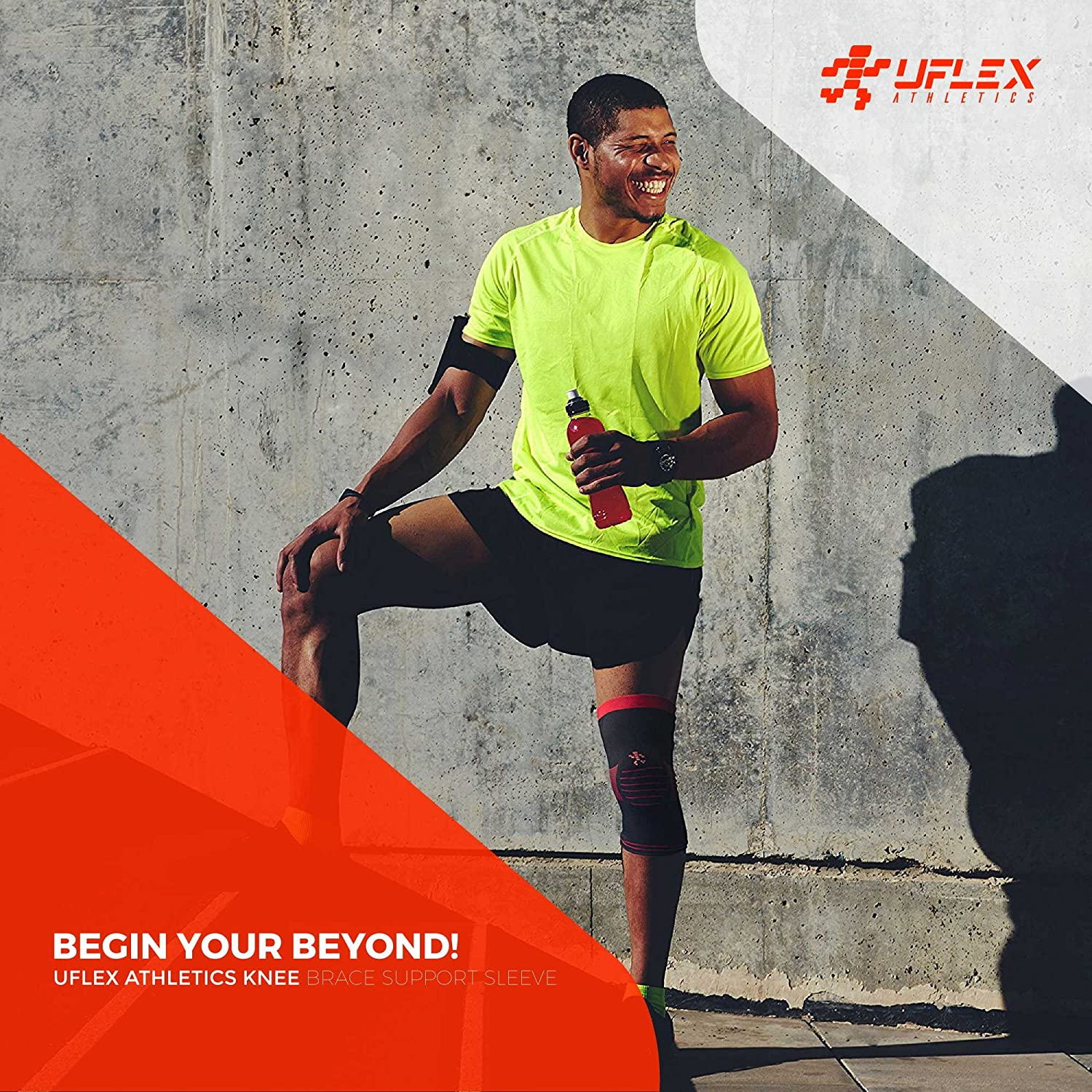 0eb2cb555e Amazon.com : UFlex Athletics Knee Brace Support Sleeve with Side Stabilizers  and Patella Padding for Post Surgery, Knee Replacement Treatment, ACL, MCL,  ...