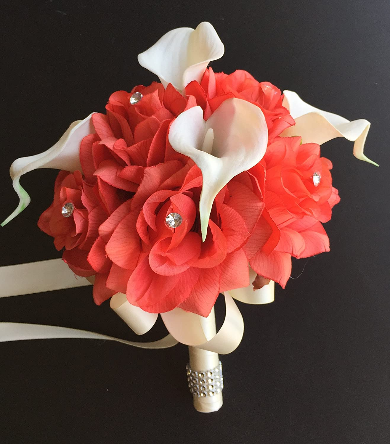 Amazon 8 wedding bouquet coral roses with ivory real touch amazon 8 wedding bouquet coral roses with ivory real touch calla lily artificial flowers home kitchen izmirmasajfo