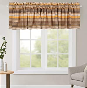 Window Valances, Rod Pocket Valance for Windows, valance for Kitchen, Bath, Bed and Dining Room, Window Treatment Valance, Farmhouse Valance, 2Pack Salsa Stripe Valance - 16x72 inch - Beige Multi