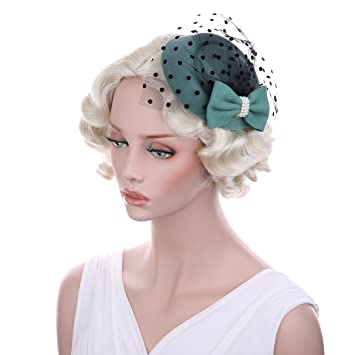 VGLOOK Women s Fascinators Hat Pillbox Hat Cocktail Party Hat with Veil  Hair Clip green ad5e9902ae4