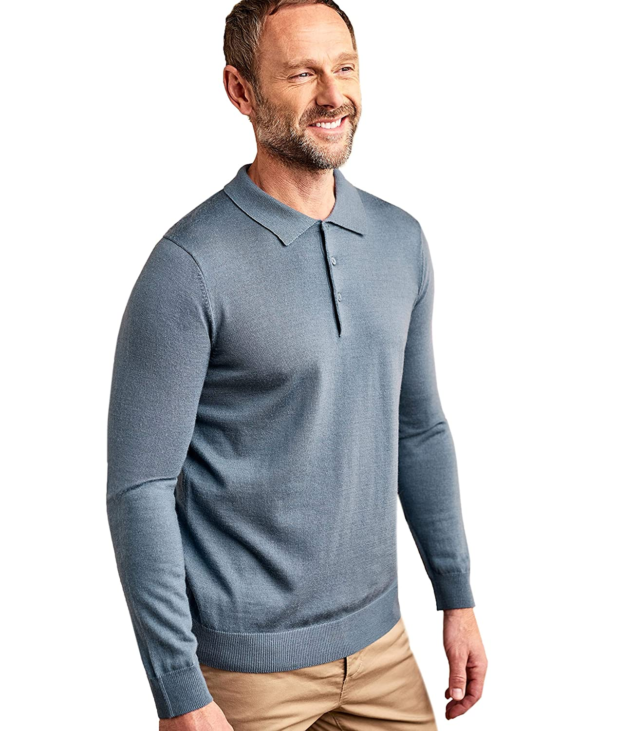 Woolovers Mens Merino Long Sleeves Button Placket Polo Shirt Storm Blue L