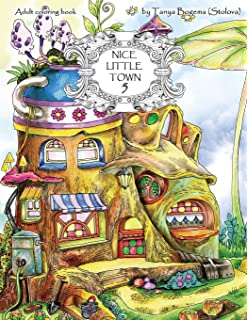 Nice Little Town Adult Coloring Book Stress Relieving Pages For