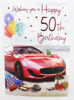 Happy 50th Birthday Card For Him Mens Male Quality Verse Large Milestone Age