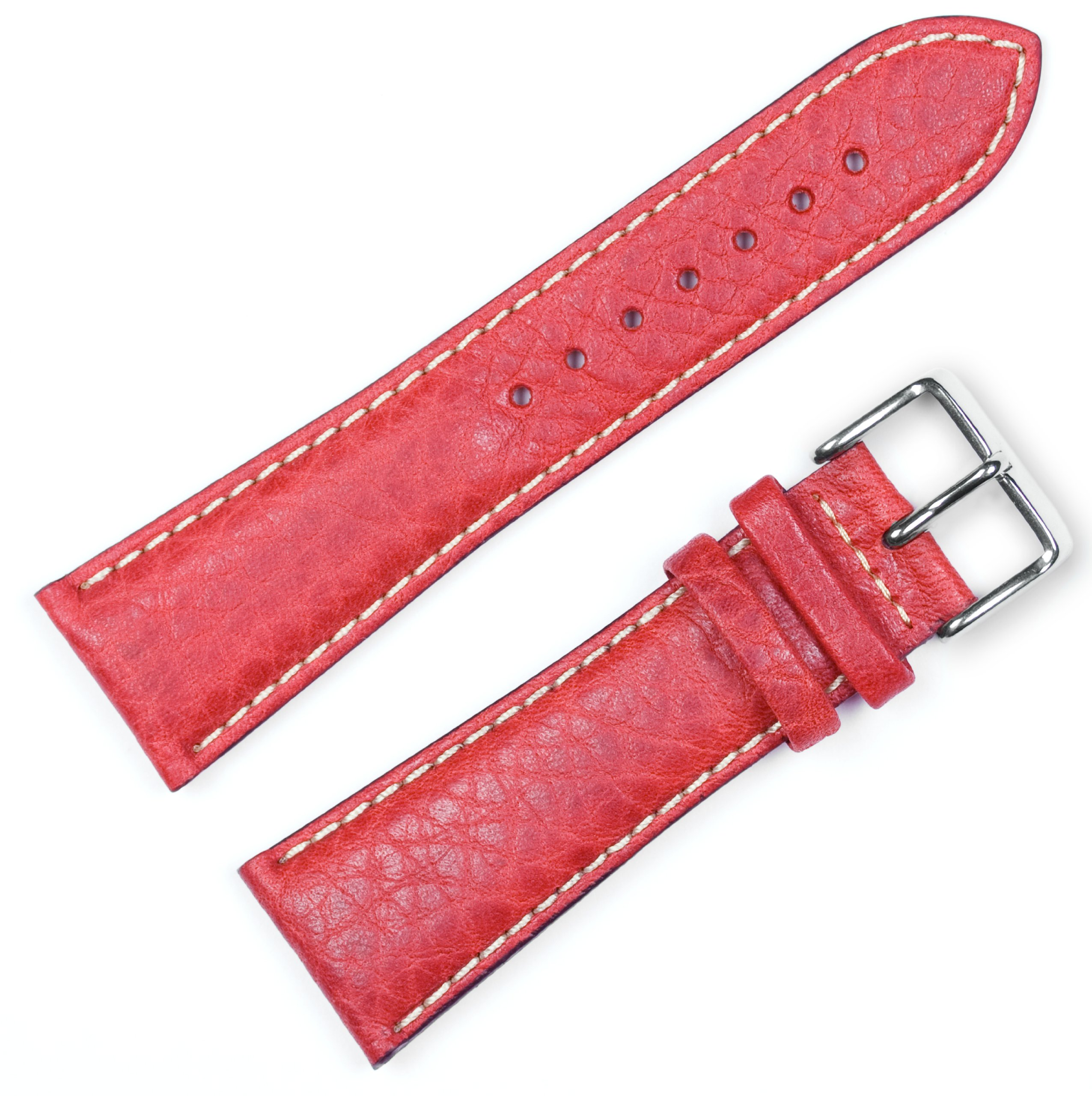 Sport Leather Watchband - Red 16MM