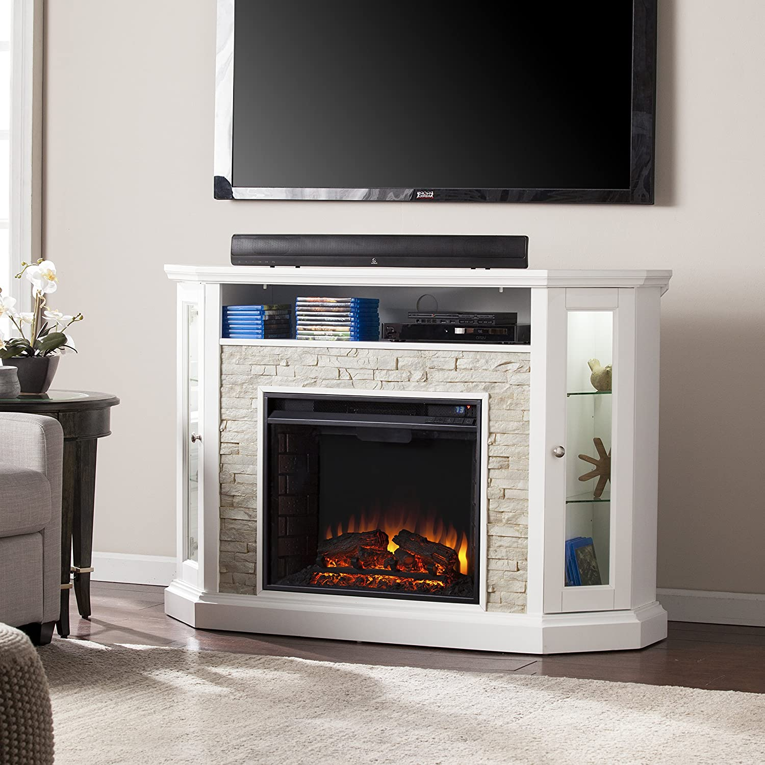 Southern Enterprises Rollins Convertible Corner Electric Media Fireplace 52 Wide, White Finish with Faux Stone