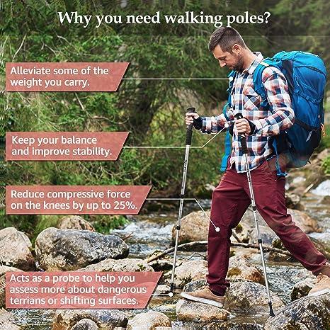los mejores bastones de senderismo para viajes paquete de 2 extensibles camping ultraligeros TheFitLife Bastones de senderismo de fibra de carbono monta/ñismo Bastones plegables y telesc/ópicos senderismo