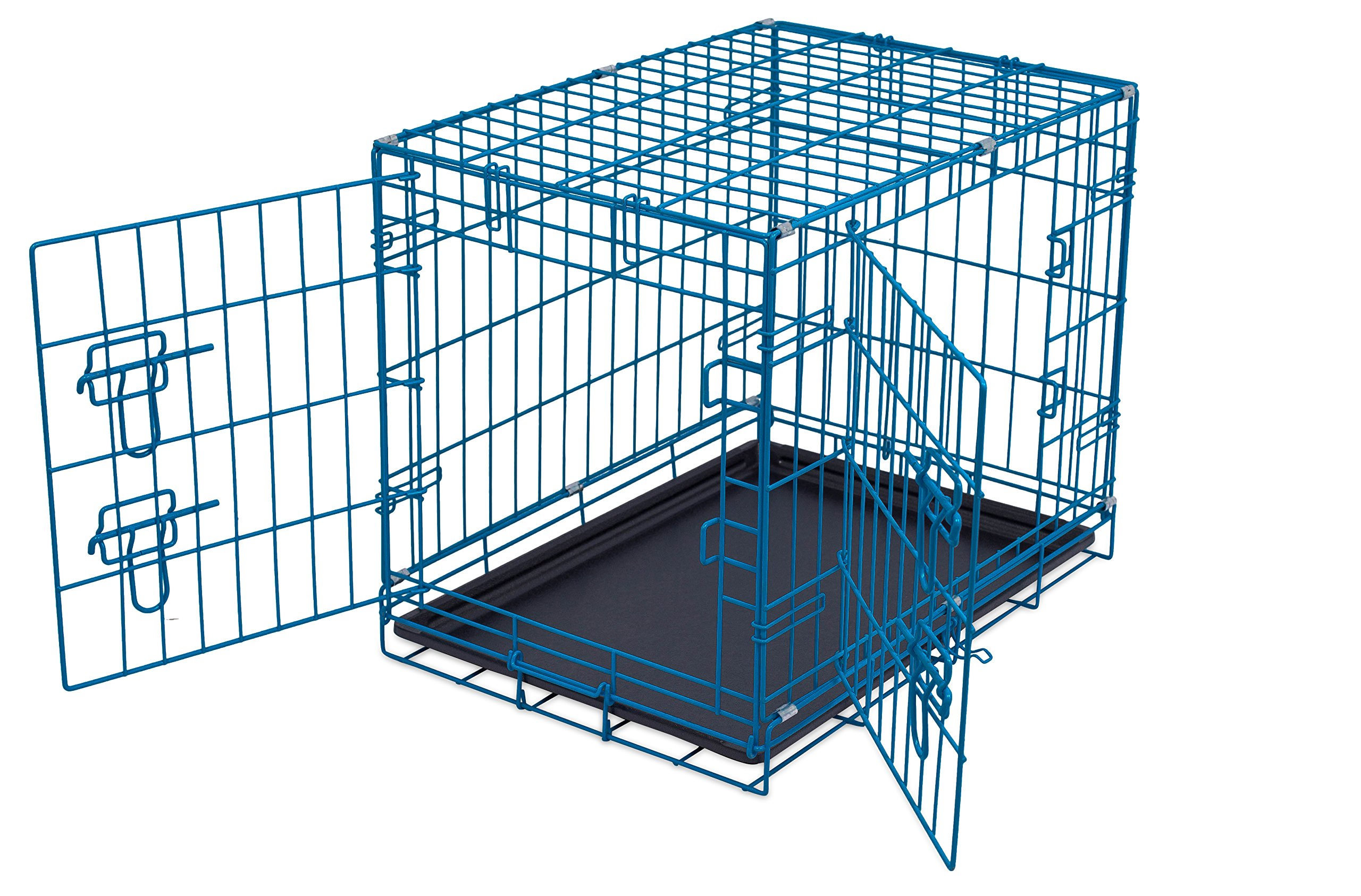 Internet's Best Double Door Steel Crates Collapsible and Foldable Wire Dog Kennel, 24 Inch (Small), Blue by Internet's Best (Image #2)