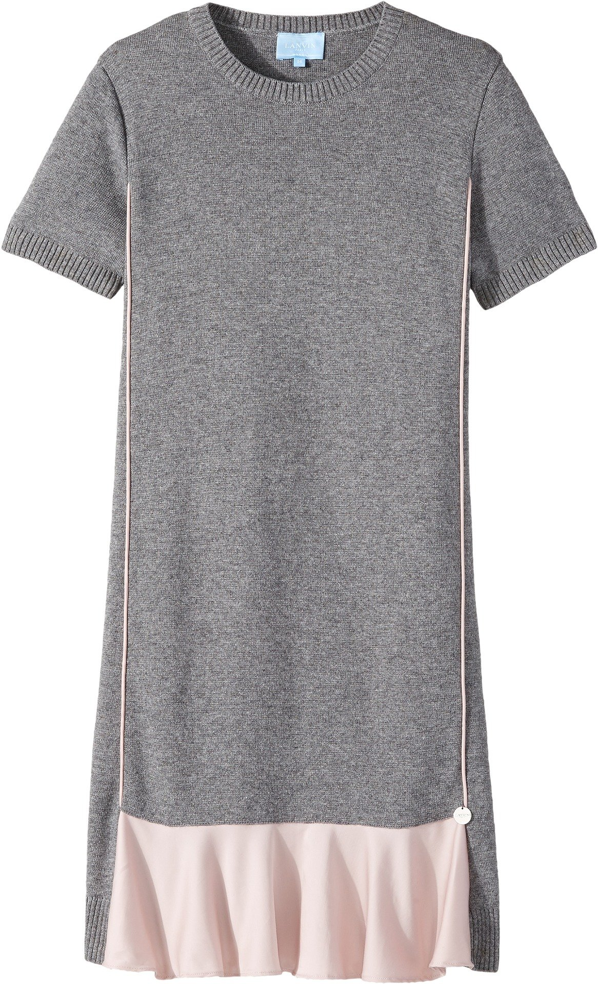 Lanvin Kids Girl's Short Sleeve Knit Dress with Contrast Ruffles On Front (Big Kids) Grey/Pink 14