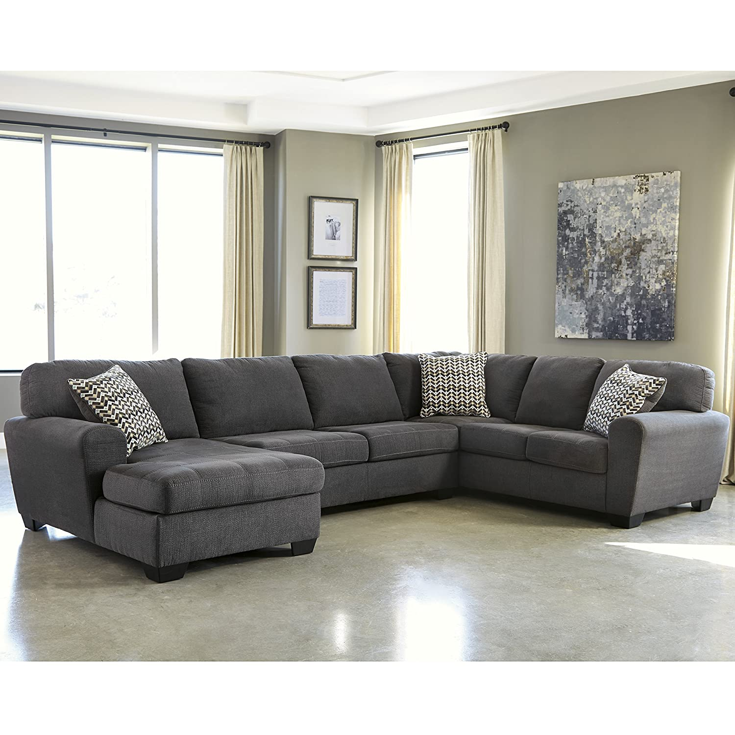 Flash Furniture Benchcraft Sorenton 3-Piece RAF Sofa Sectional in Slate Fabric