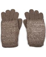styleBREAKER warme Strickhandschuhe, Fingerhandschuhe mit abnehmbarer Strass und Pailletten besetzter Manschette, doppelter Bund, Handschuhe, Damen 09010006
